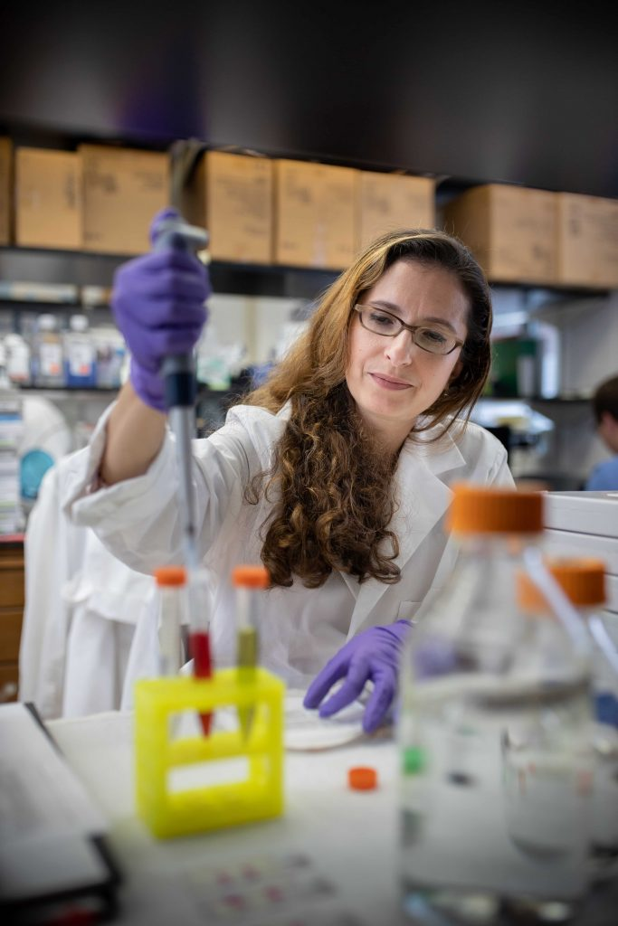 A woman wearing glasses, gloves and a white lab coat pipettes at a bench in a research lab.
