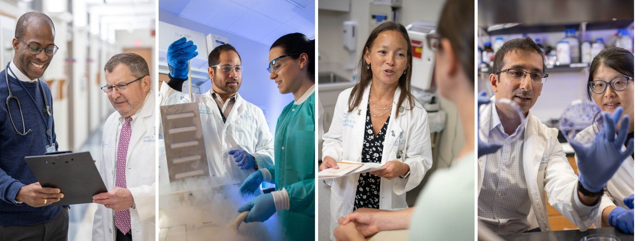Four scenes showing people engaging in lab research or clinic care. The people in the photos are from diverse racial and ethnic backgrounds.