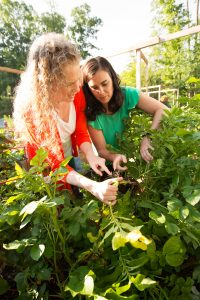 Meredith and Jennifer working in Zeny's Garden