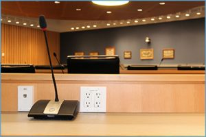 Conference room with focus on microphone.