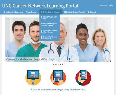 Photo of UNC Cancer Network's The Learning Portal website