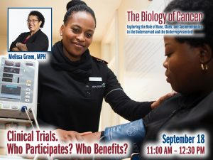 Clinical Trials. Who Participates? Who Benefits? – Melissa Green, MPH — Friday, September 18th – 11:30 AM to 12:30 PM – The Biology of Cancer Lecture