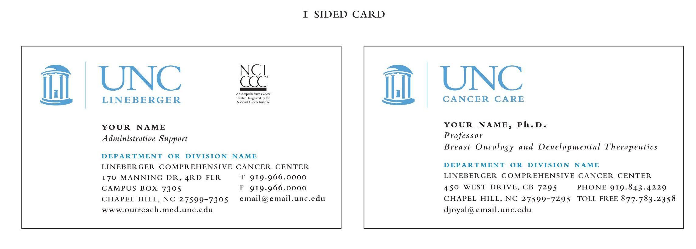 one sided business cards — unc lineberger comprehensive cancer center, Presentation templates