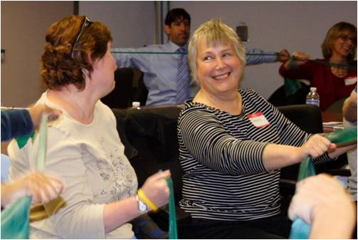 People using exercise bands during the Cancer Transitions workshop.