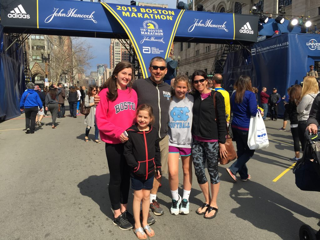 Amy at the 2015 Boston Marathon with her family