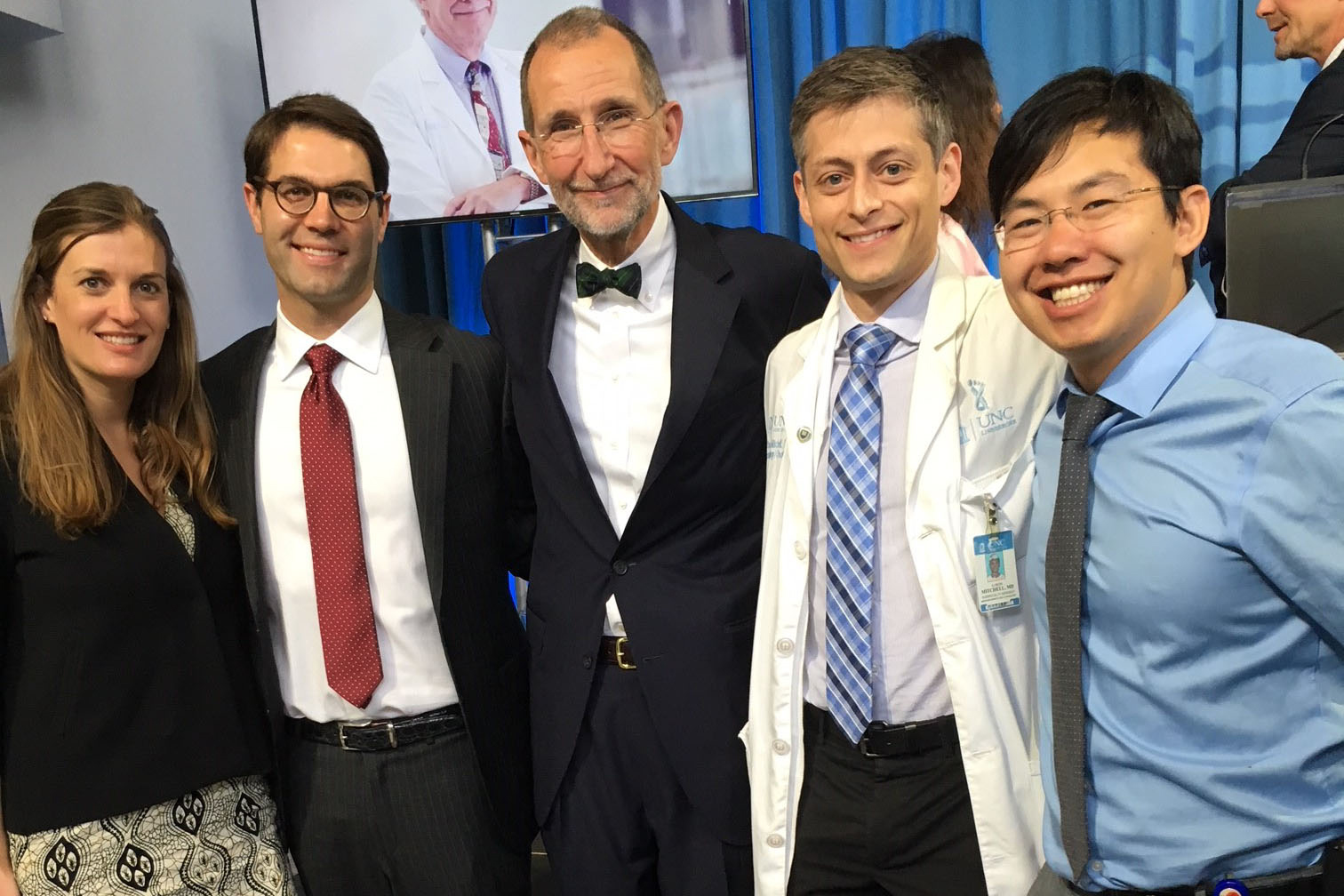 The 2018 Pope Clinical Fellows Awards recipients are Kate Westmoreland, MD, C. Tyler Ellis, MD, Aaron Mitchell, MD, and Kyle Wang, MD. They are pictured with UNC Health Care CEO William L. Roper, MD, MPH.