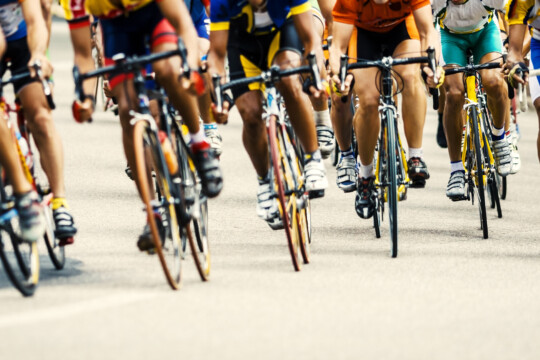Cyclists riding in a competition
