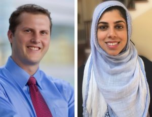 UNC Lineberger's Chad Pecot, PhD, and Salma Azam, a graduate student in the UNC School of Medicine Department of Genetics who is working in Pecot's lab.