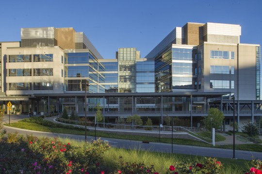 Exterior of the N.C. Cancer Hospital in Chapel Hill, NC