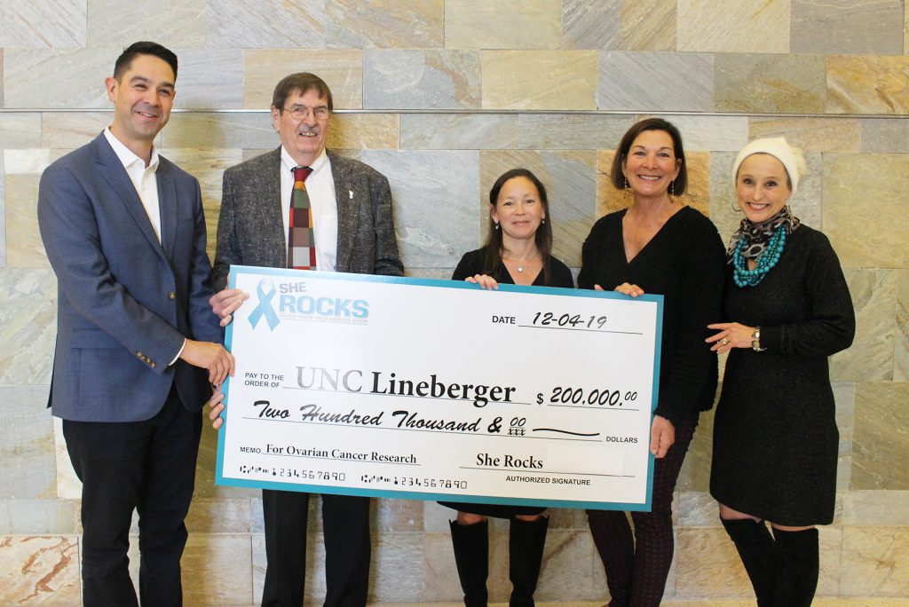 She ROCKS presents a $200,000 check to Members of members of UNC Lineberger.
