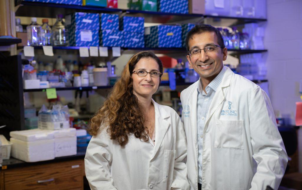 Yuliya Pylayeva-Gupta and Gaorav Gupta inside a research lab.
