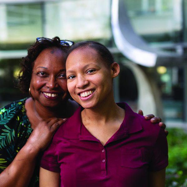 Sabrina Shelton and her mom Debra Blake in the courtyard of the N.C. Cancer Hospital