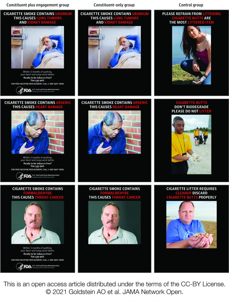 A three-by-three grid of images with accompanying text for each image. Images range from sick people with smoking-related illness to people who are cleaning up cigarette litter. The accompanying text for each are brief sentences about how smoking affects health and the negative effects of cigarette litter.