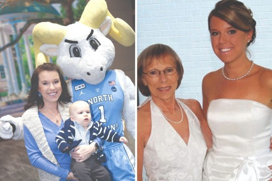 Two images: A woman holds a baby and poses with the UNC-Chapel Hill school mascot, a ram wearing a blue basketball jersey; second image is two women wearing white evening wear pose for a photo at a fundraising event.