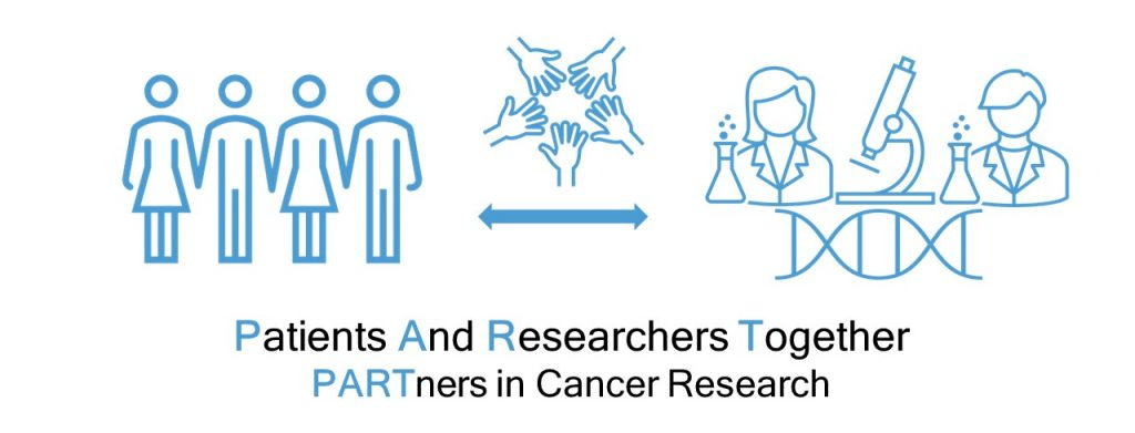 Patients and Researchers Together - Partners in Cancer Research. Illustration showing collaboration between patients and researchers.
