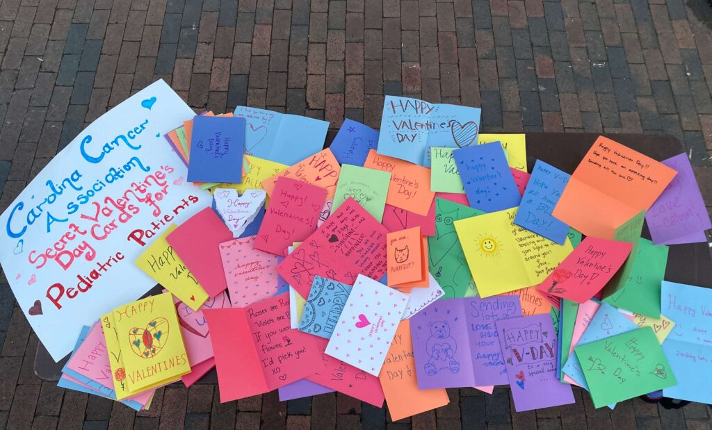 Handmade Valentine's Day cards for pediatric cancer patients
