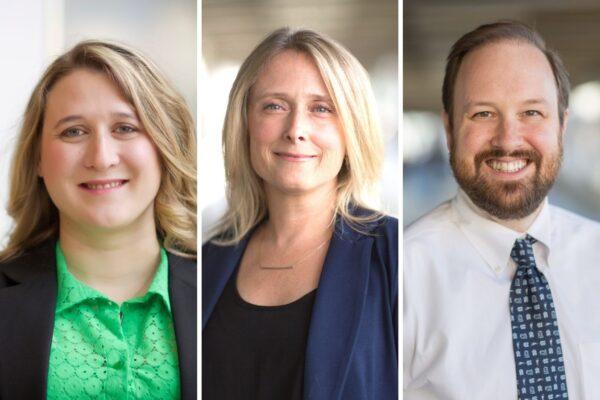 Headshots of Katie Hoadley, Melissa Troester and Ben Vincent
